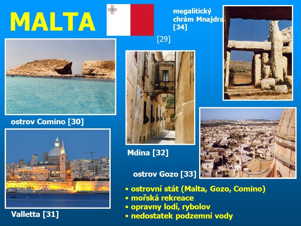 MALTA [29] ostrov Comino [30] Mdina [32] ostrov Gozo [33]